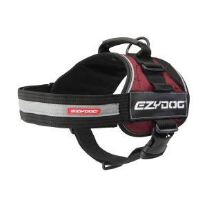 Ezydog Convert Harness color Red with text labels that can be personalized by K9-label