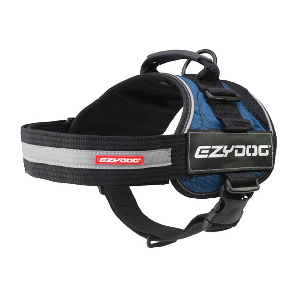 Ezydog Convert Harness color Blue with text labels that can be personalized by K9-label