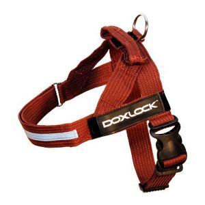 Doxlock Belt harness color Brown size L with text labels that can be personalized by K9-label