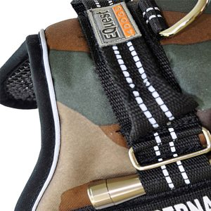 Equest Premium Harness color Camouflage size SPlus with text labels that can be personalized by K9-label